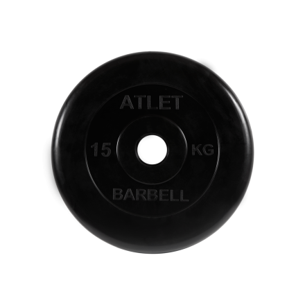 BARBELL Диск обрезиненный 15 кг, 51 мм. Atlet MB-AtletB-15 - 1