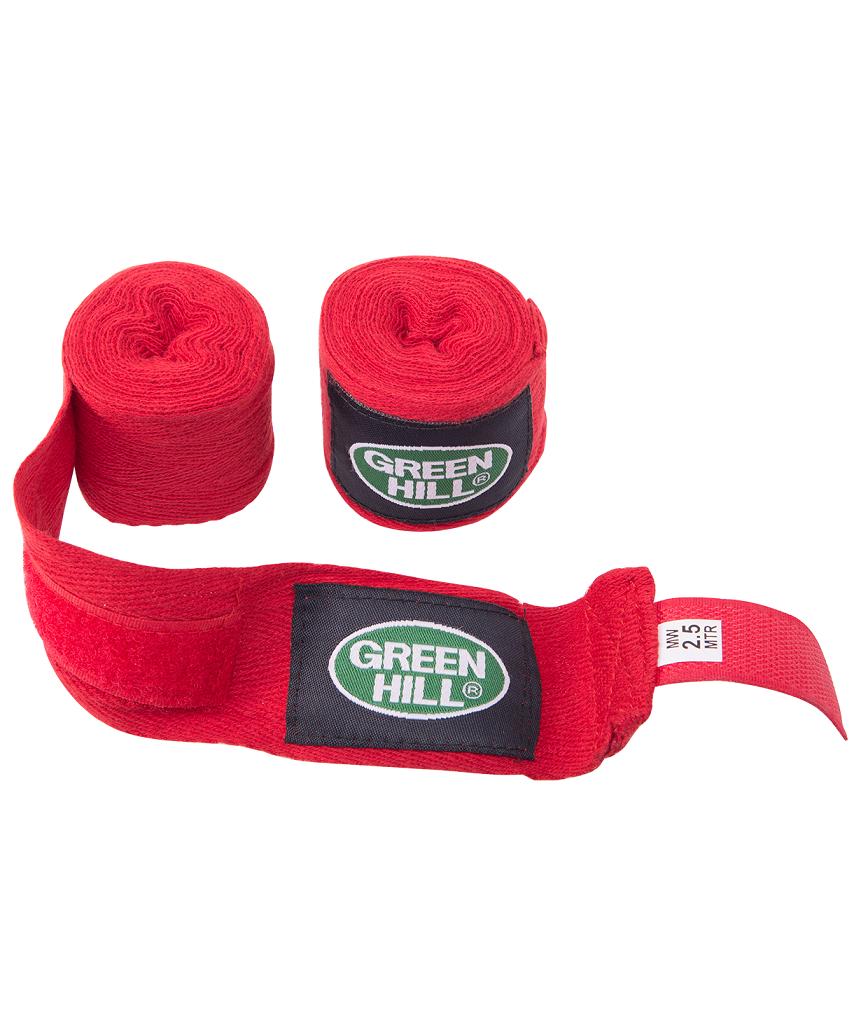 GREEN HILL Бинт боксерский 2,5м, х/б  BC-6235а: красный - 1