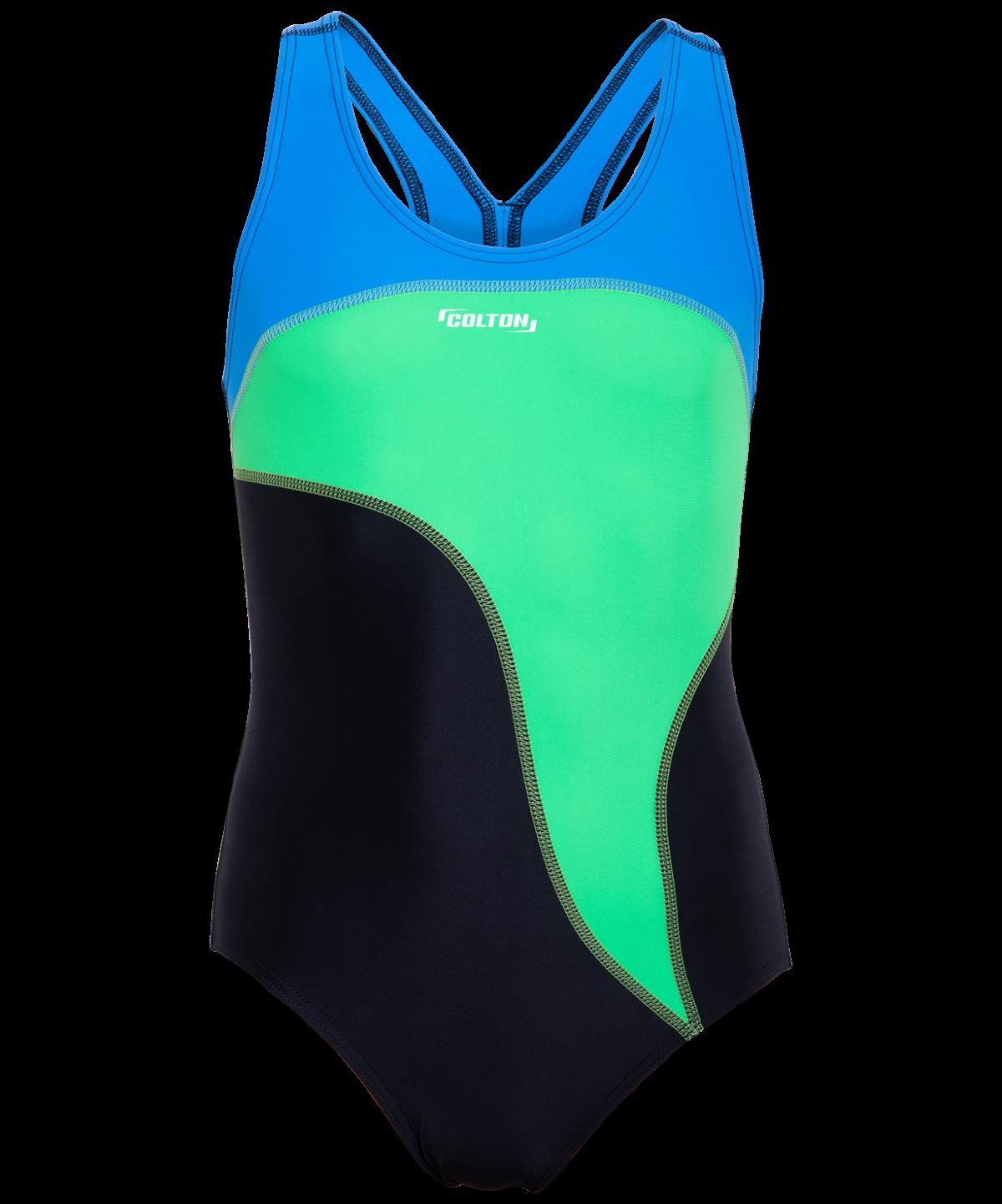 COLTON Wave Купальник для плавания совместный со вставками, детский (32-42)  SC-5910: чёрный/салатовый - 1