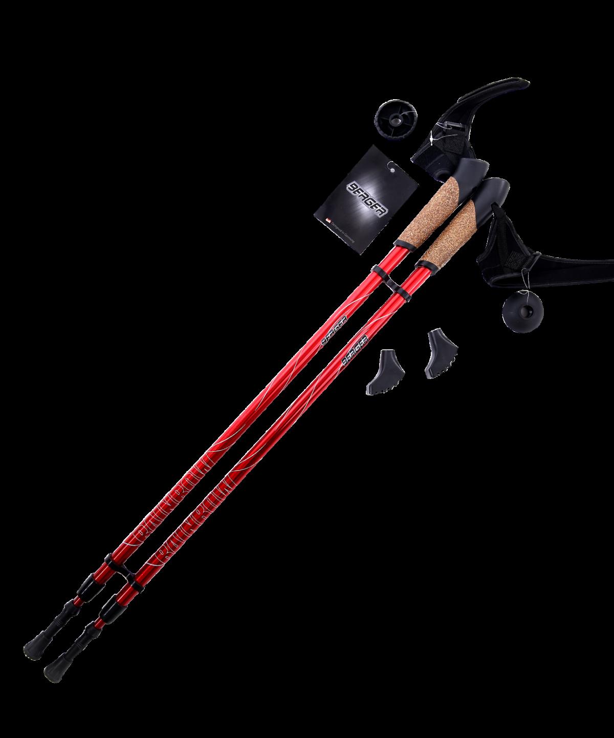 BERGER Rainbow Палки для скандинавской ходьбы 2-х секционные, 86-140см.: красный - 1