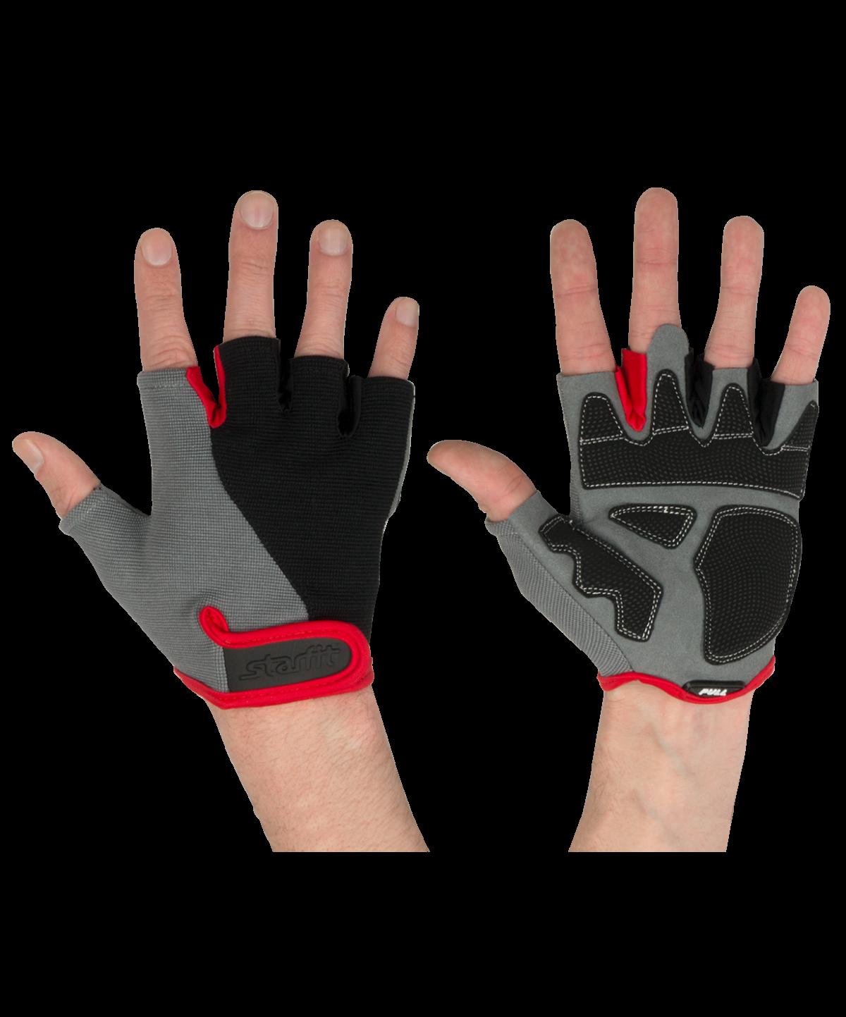 STARFIT Перчатки для фитнеса SU-117 : черный/серый/красный - 1