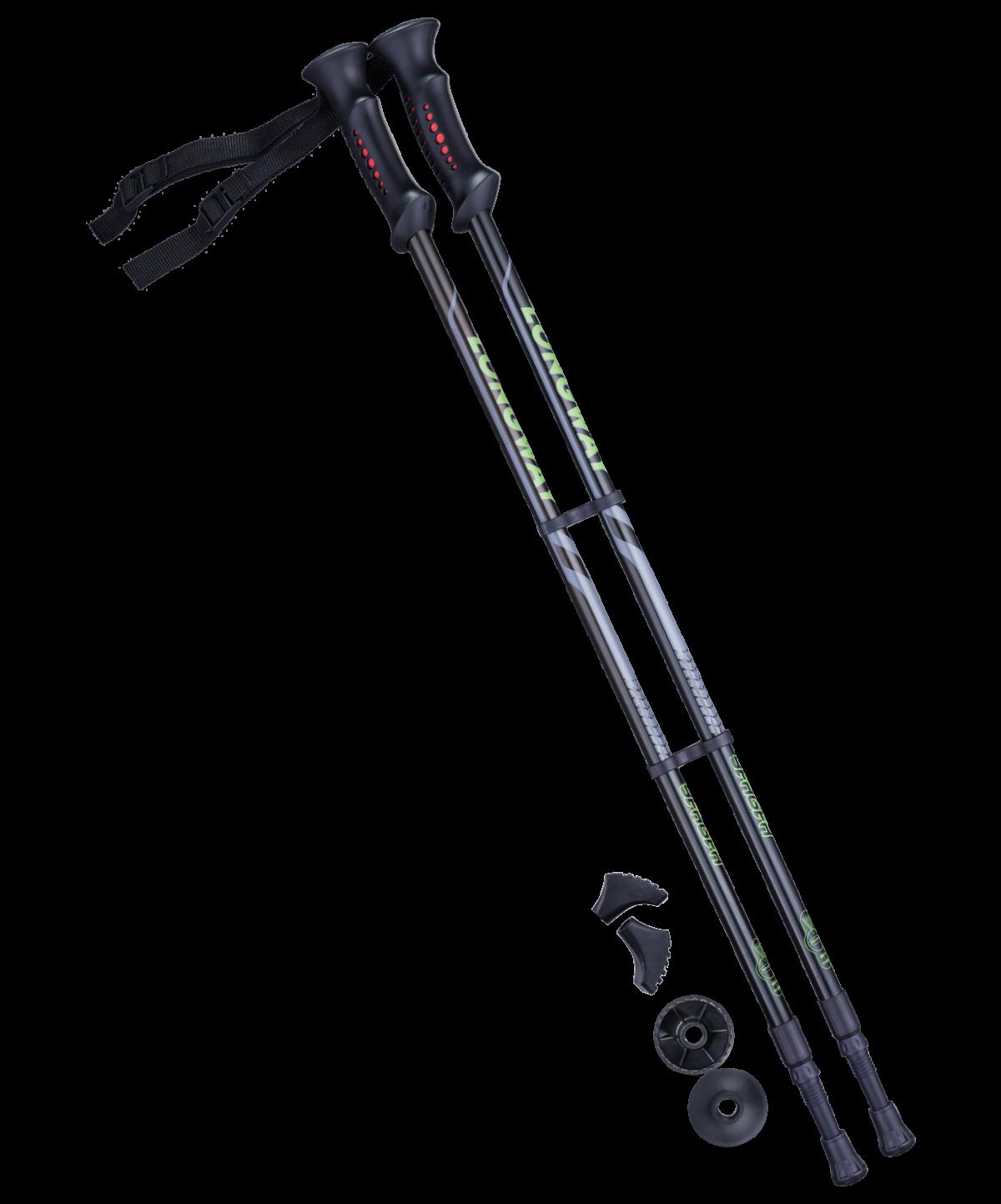 BERGER Longway Палки для скандинавской ходьбы чёрный/зелёный 77-135 см. - 1
