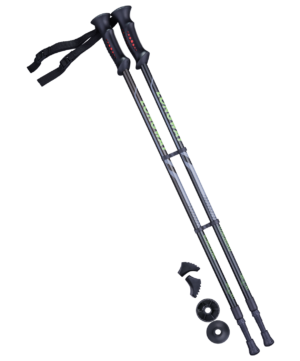 BERGER Longway Палки для скандинавской ходьбы чёрный/зелёный 77-135 см. - 2