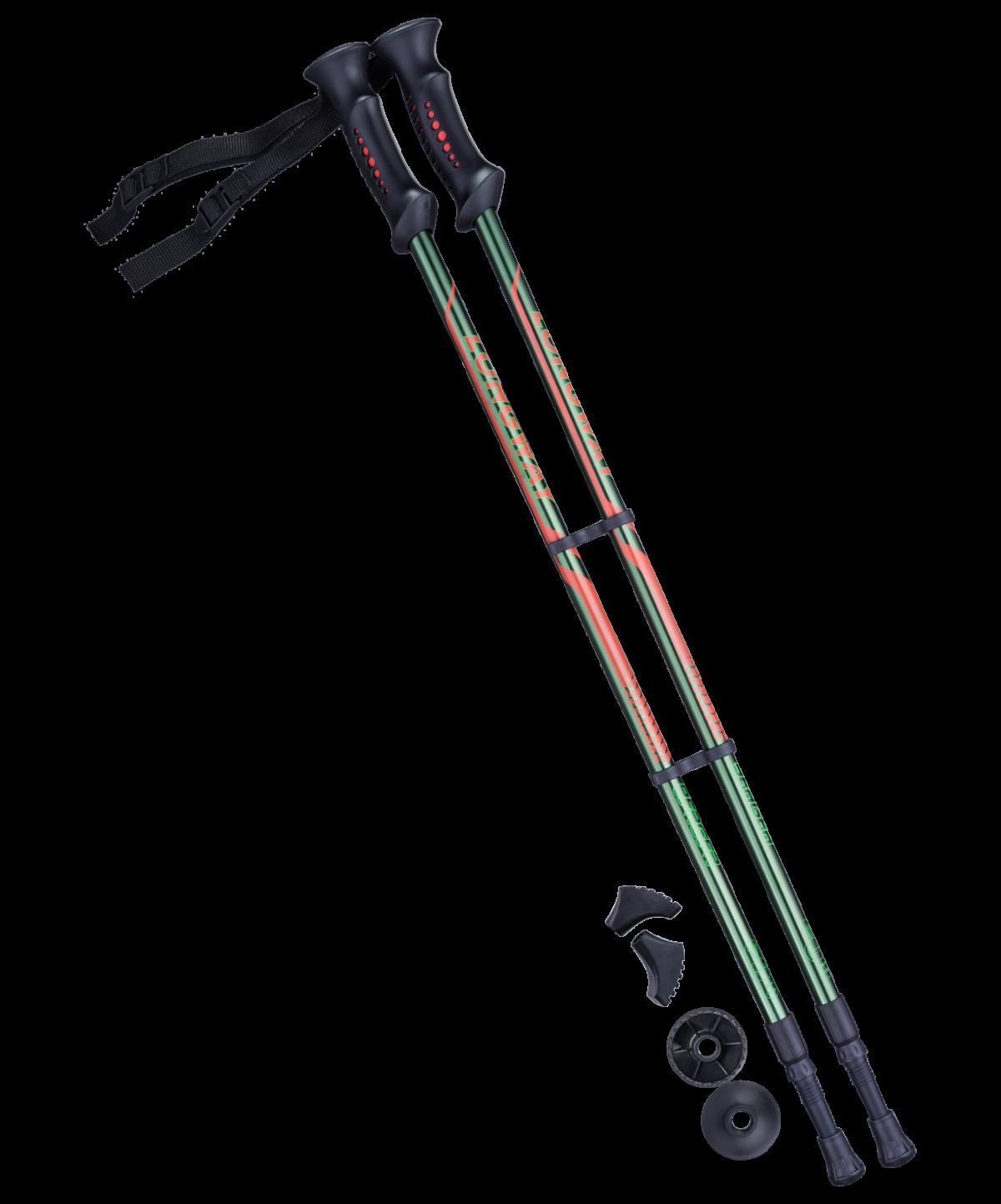 BERGER Longway Палки для скандинавской ходьбы зеленый/оранжевый, 77-135 см - 1