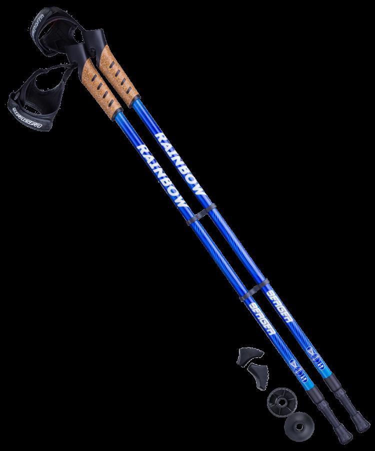 BERGER Rainbow Палки для скандинавской ходьбы синий/голубой, 77-135 см - 1