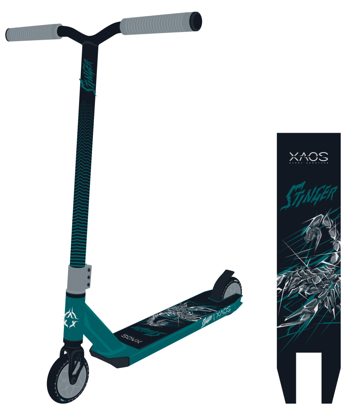 XAOS Stinger Самокат трюковый 110 мм  Stinger: Green - 1