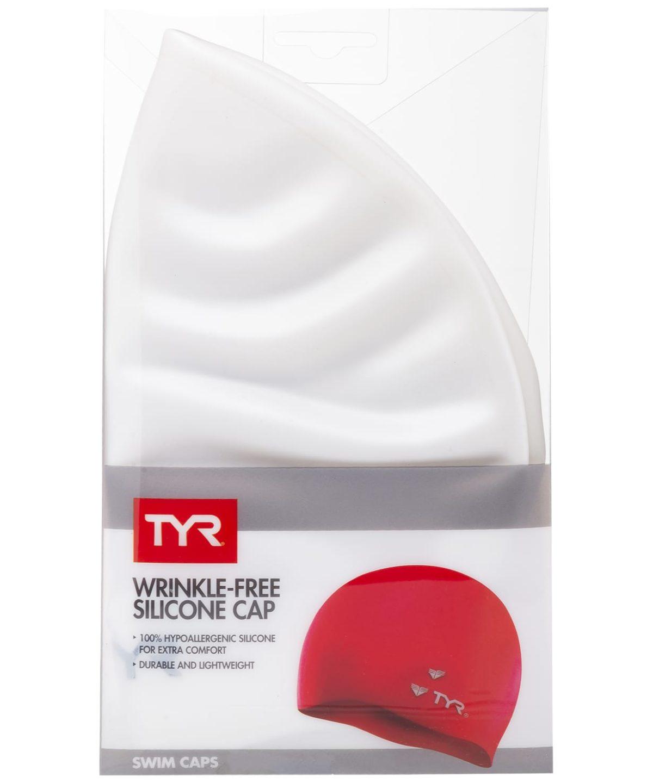 TYR Wrinkle Free Silicone Cap Шапочка для плавания силикон  LCS: белый - 2