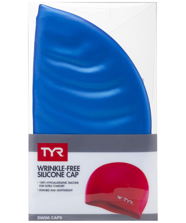 TYR Wrinkle Free Silicone Cap Шапочка для плавания силикон  LCS: голубой - 2