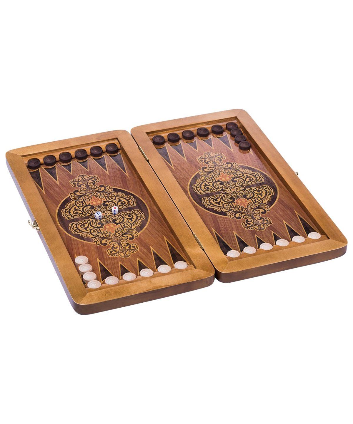 Нарды малые сувенирные, кожаные, в чехле  8425 - 1