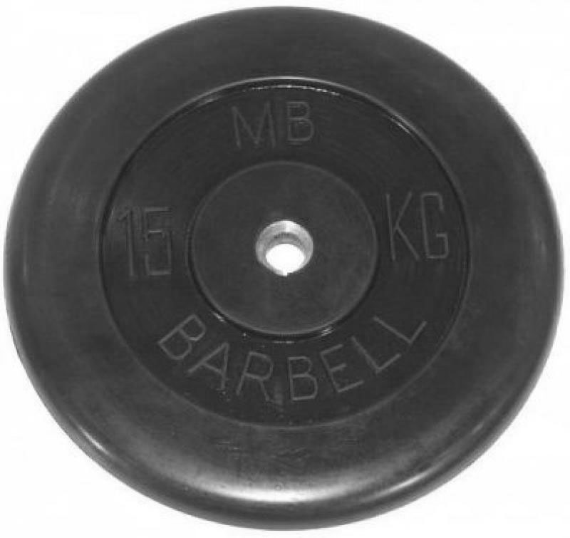 BARBELL Диск обрезиненный 15 кг, 51 мм. MB-PltB50-15 - 1
