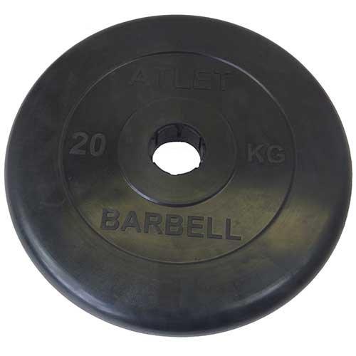 BARBELL Диск обрезиненный 20 кг, 51мм. Atlet MB-AtletB-20 - 1