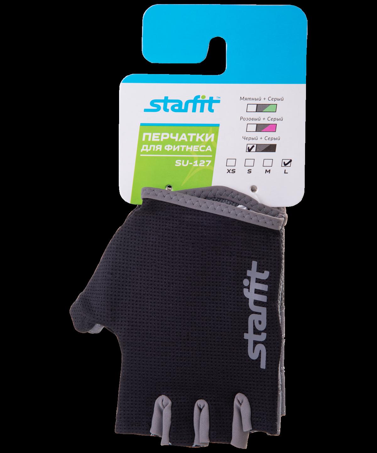 STARFIT Перчатки для фитнеса SU-127 : чёрный/серый - 2