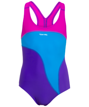COLTON Wave Купальник для плавания совместный со вставками, детский (32-42)  SC-5910: фиолетовый/голубой - 10