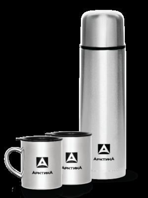 АРКТИКА Набор: термос классический для напитков 1000 мл + 2 кружки 300 мл  101-1000S - 1