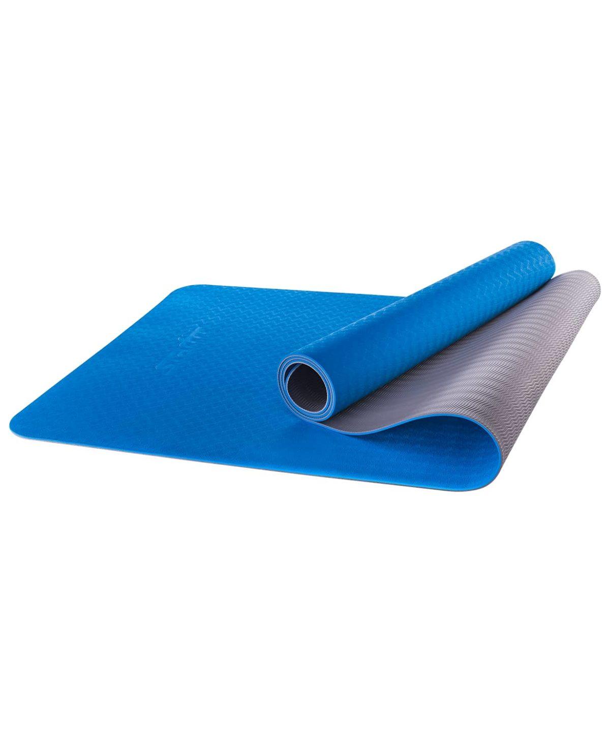 STARFIT Коврик для йоги FM-201 173х61х0,4 см: синий/серый - 1