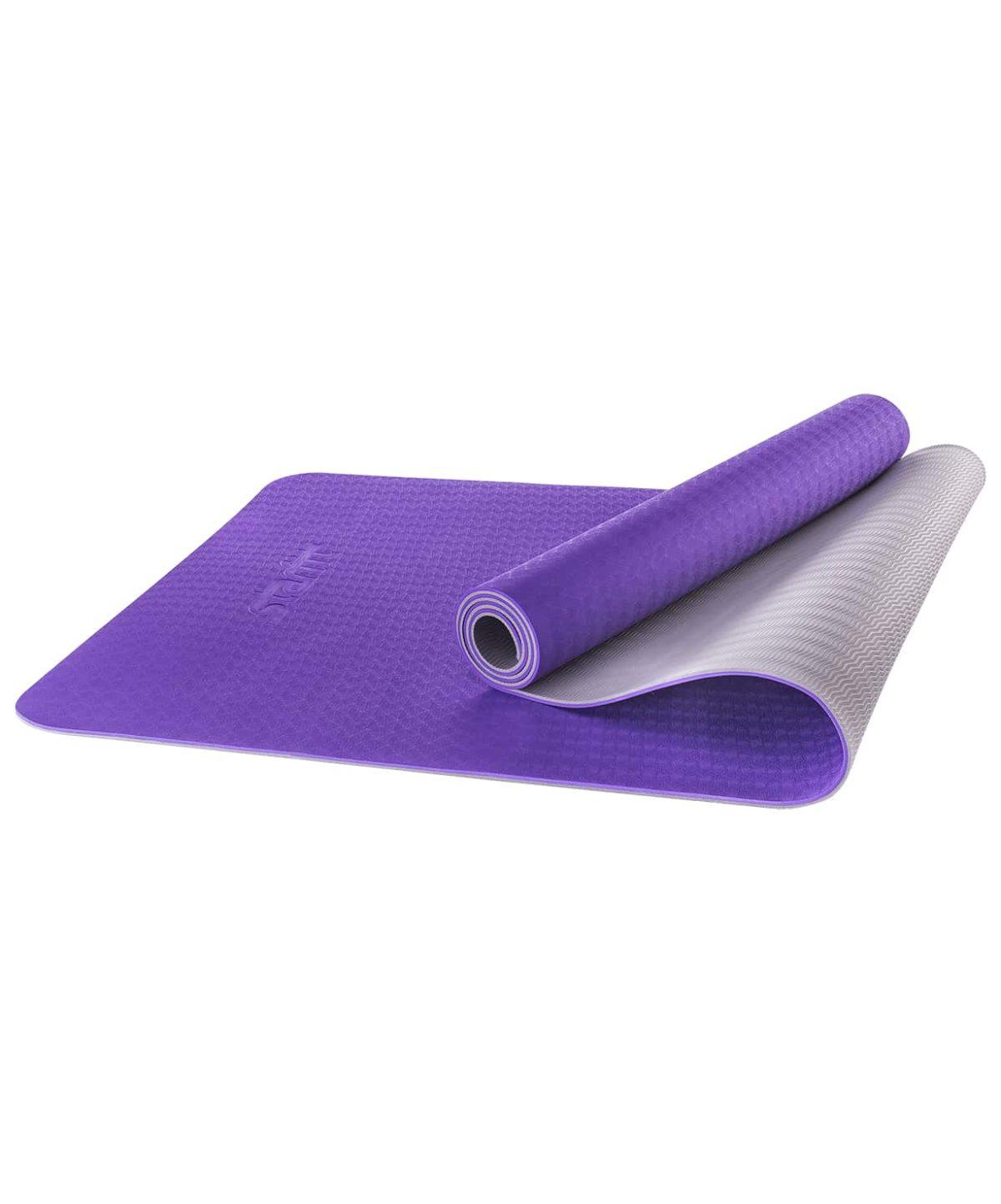 STARFIT Коврик для йоги FM-201 173х61х0,5 см: фиолетовый/серый - 1