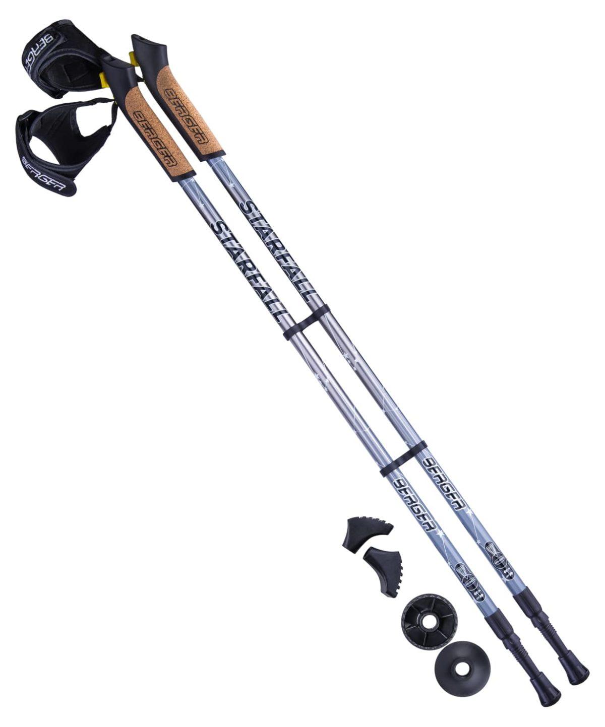 BERGER Starfall Палки для скандинавской ходьбы, 77-135 см: серый/чёрный/белый - 1