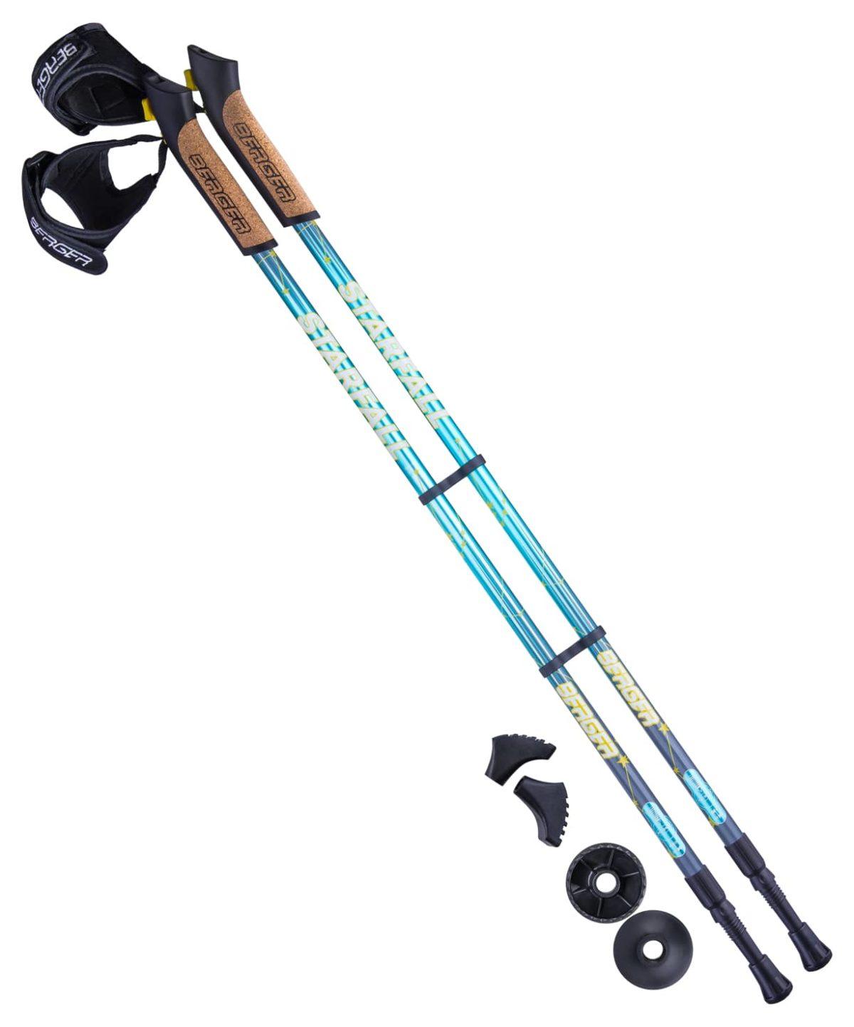 BERGER Starfall Палки для скандинавской ходьбы, 77-135 см: синий/серый/жёлтый - 1