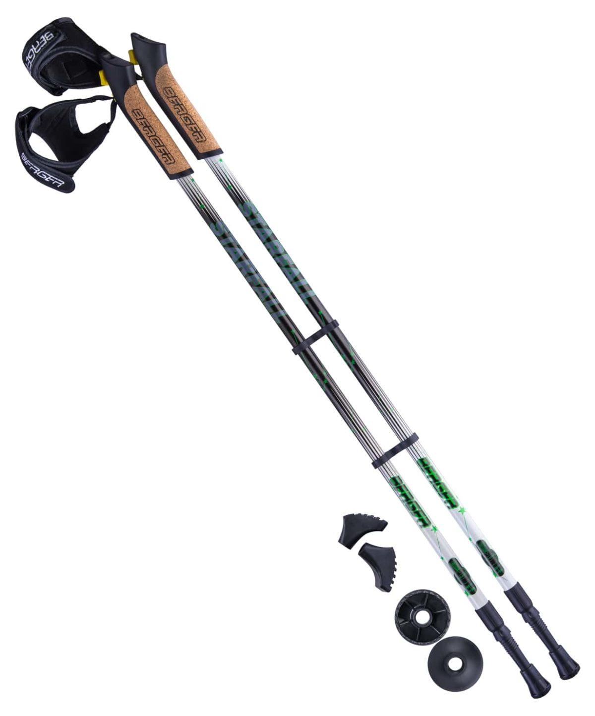 BERGER Starfall Палки для скандинавской ходьбы, 77-135 см: чёрный/белый/ярко-зелёный - 1