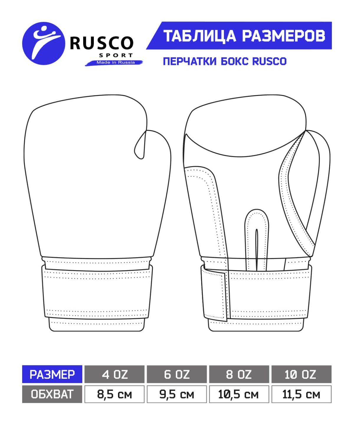 RUSCO Перчатки бокс. 10oz, к/з  18530 - 6