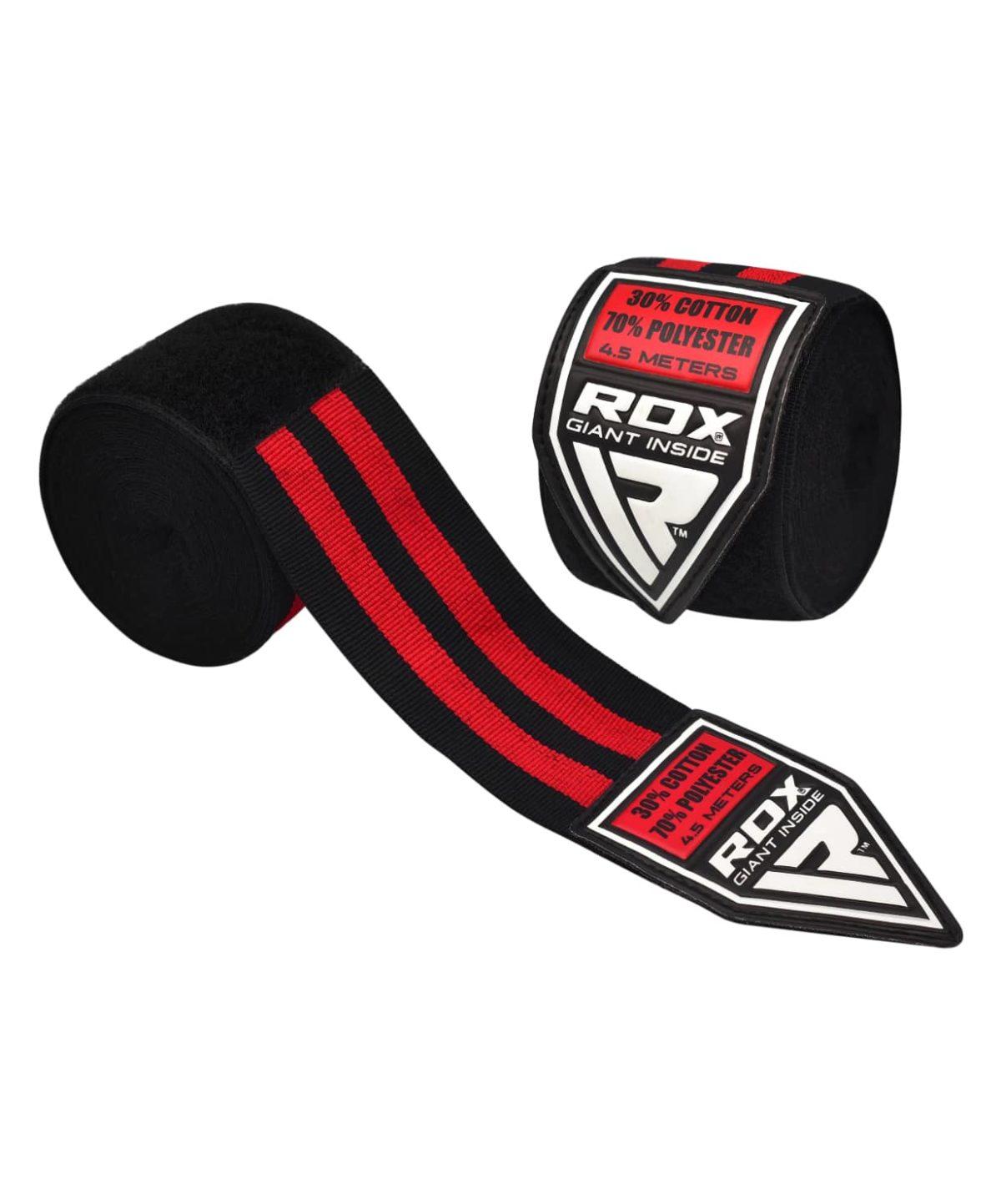 RDX бинт бокс., эластик 4,5м  PRO HWP-1B: черный/красный - 1