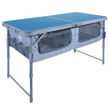 NIKA Стол складной с полкой  ССТ-3П: голубой - 1
