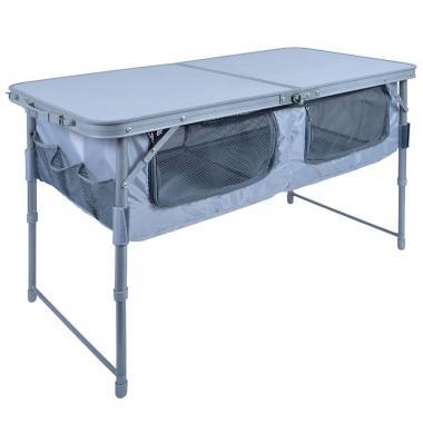 NIKA Стол складной с полкой  ССТ-3П: металлик - 1