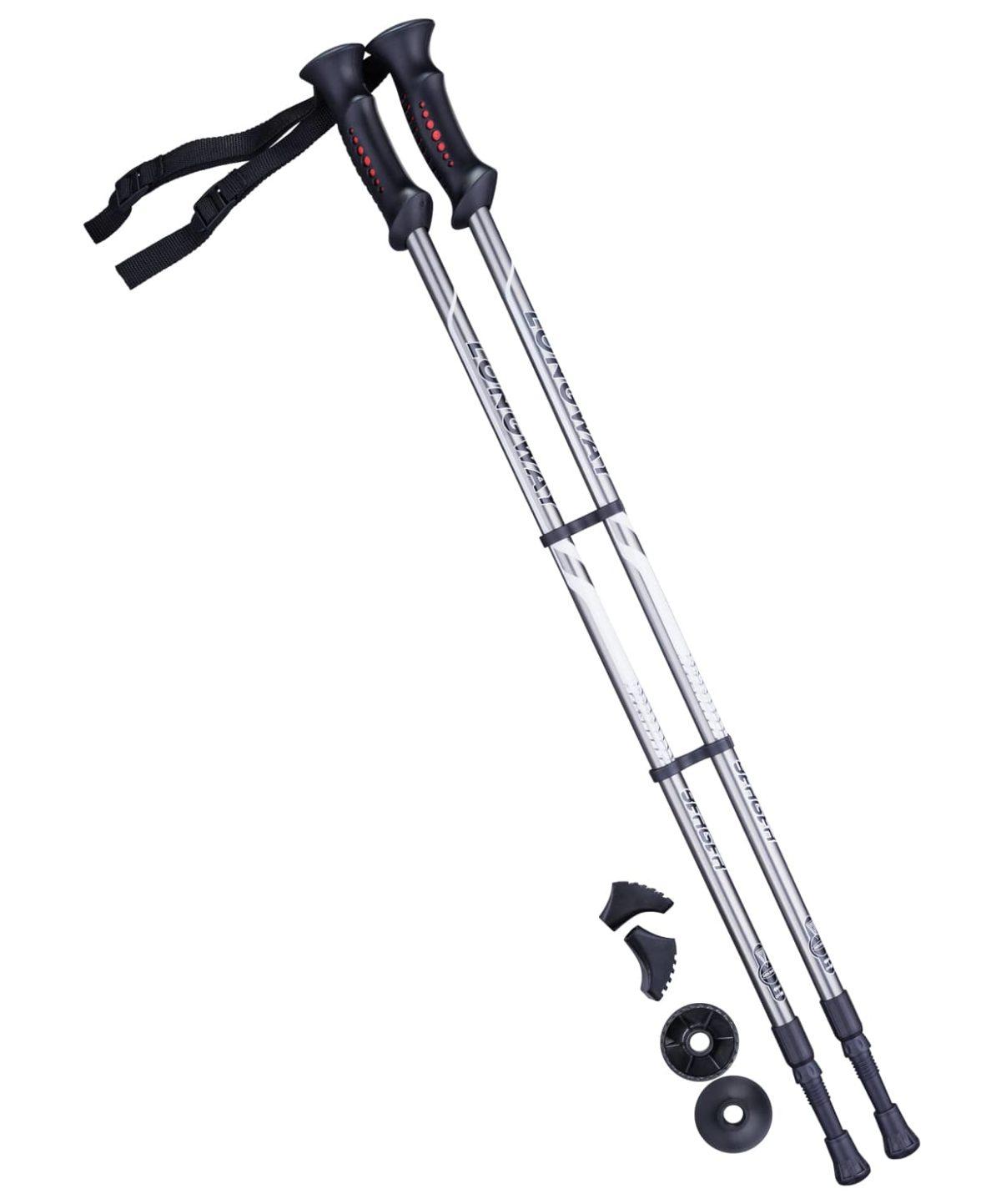 BERGER Longway Палки для скандинавской ходьбы  77-135 см.: серый/черный - 1