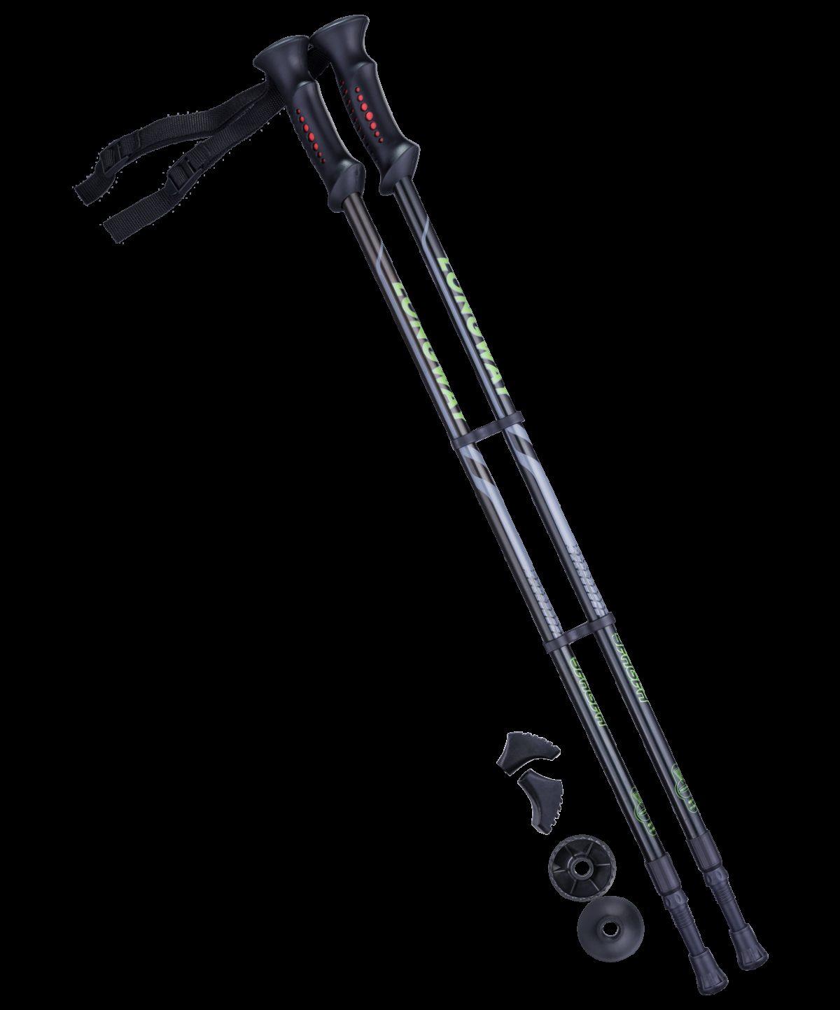 BERGER Longway Палки для скандинавской ходьбы  77-135 см.: чёрный/зелёный - 1