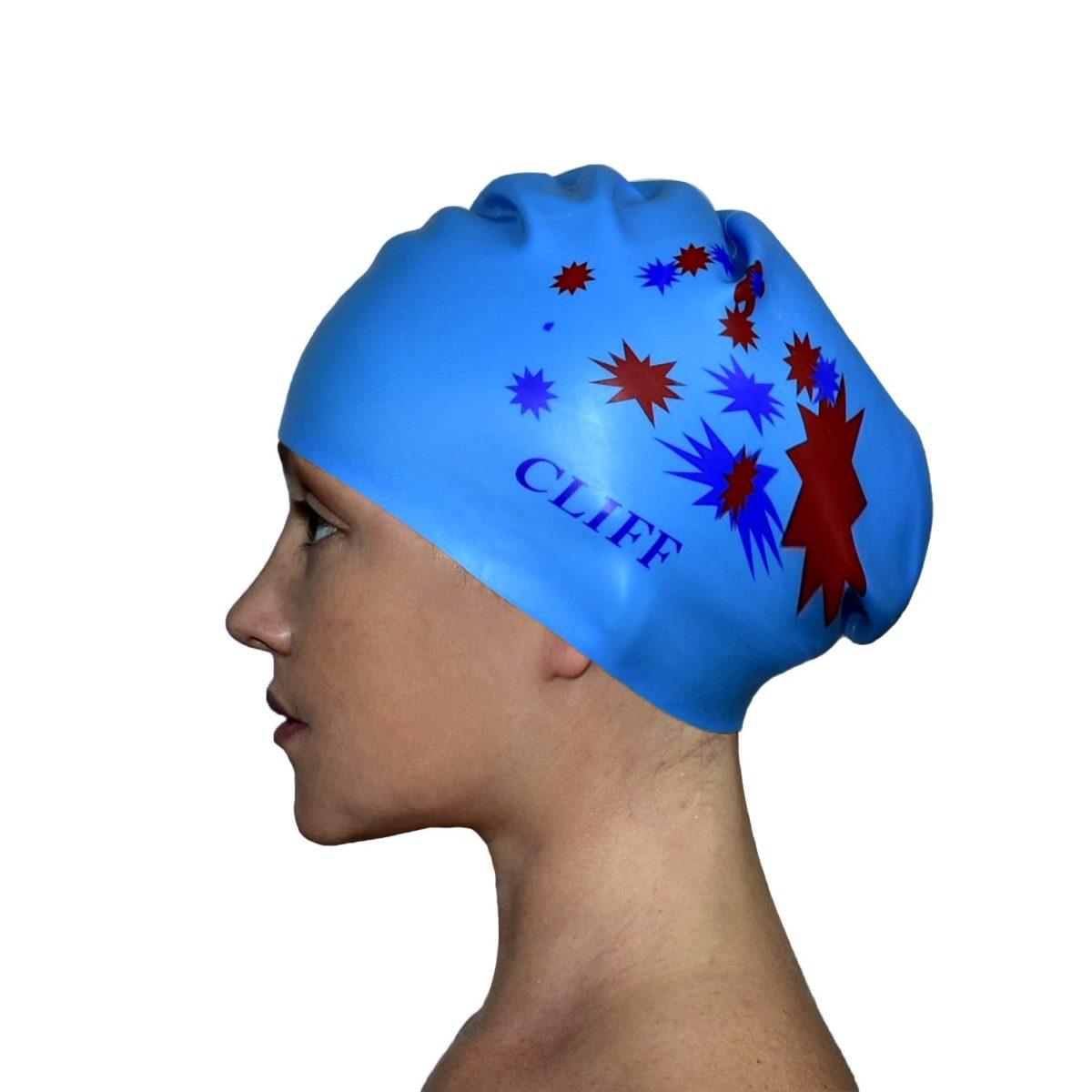 CLIFF Шапочка для плавания силикон. д/длинных волос  CS13: голубой - 1