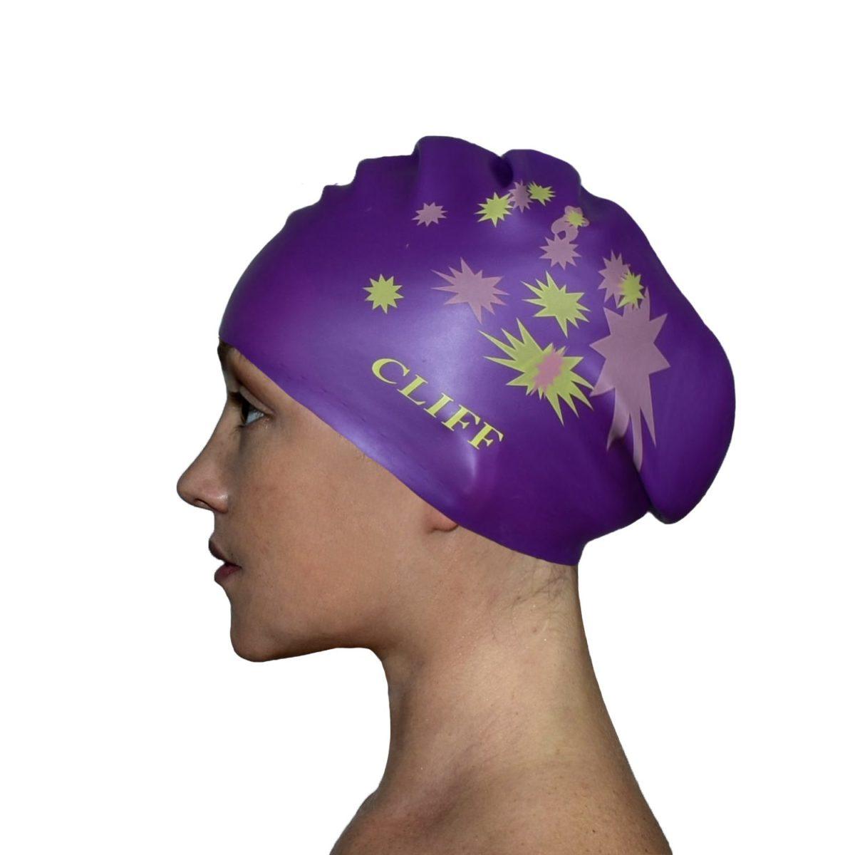 CLIFF Шапочка для плавания силикон. д/длинных волос  CS13: сиреневый - 1